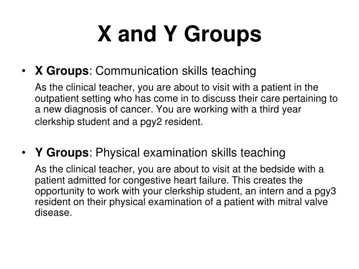 X and Y Groups