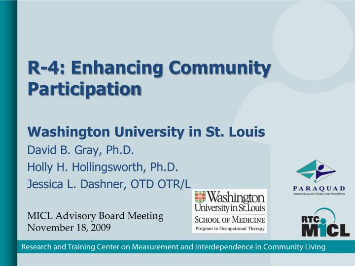 r 4 enhancing community participation n.