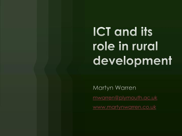 ict and its role in rural development n.