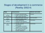 stages of development in e commerce rowley 2002 4