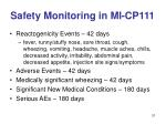 safety monitoring in mi cp111
