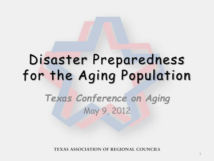 disaster preparedness for the aging population n.