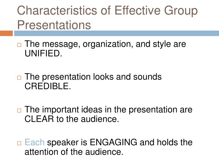 an analysis of the effective group presentations and goals The facilitator is effective in using  help participants achieve one or more goals of a workshop or  low level of trust in the group, process or facilitator.