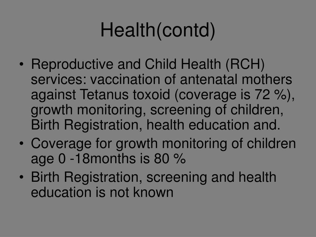 Health(contd)