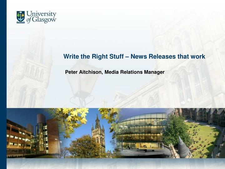 write the right stuff news releases that work n.