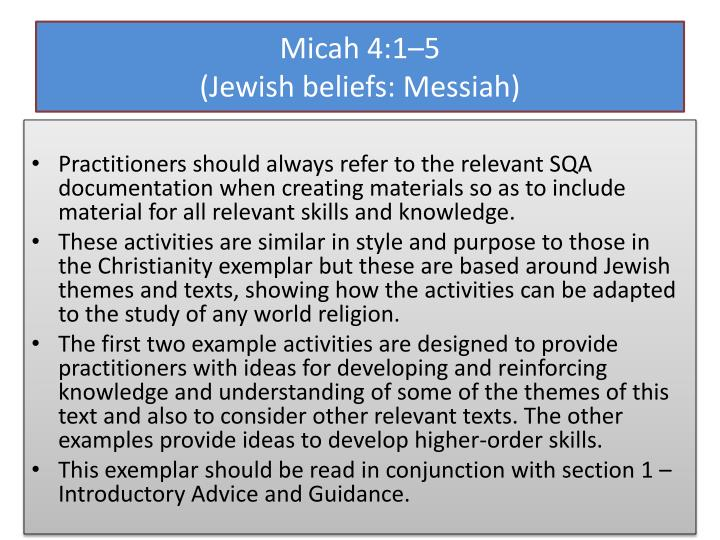 Micah 4 1 5 jewish beliefs messiah
