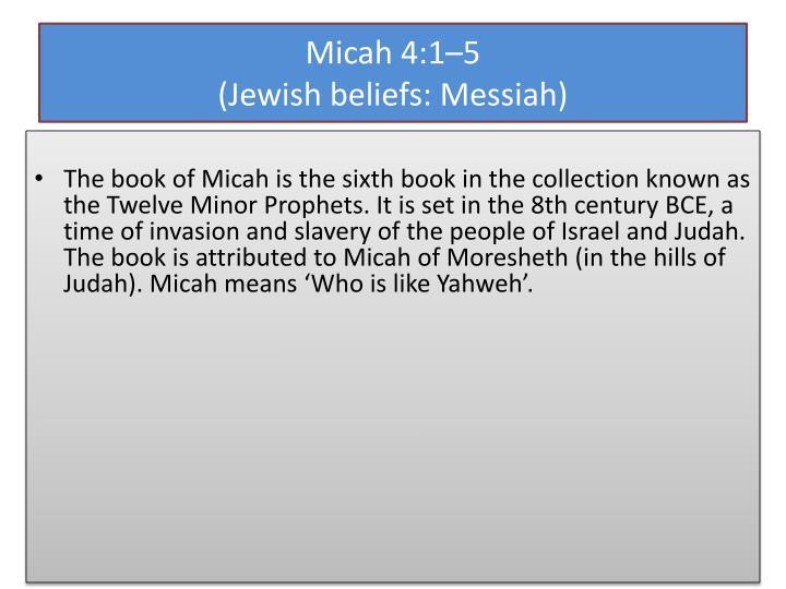 Micah 4 1 5 jewish beliefs messiah1