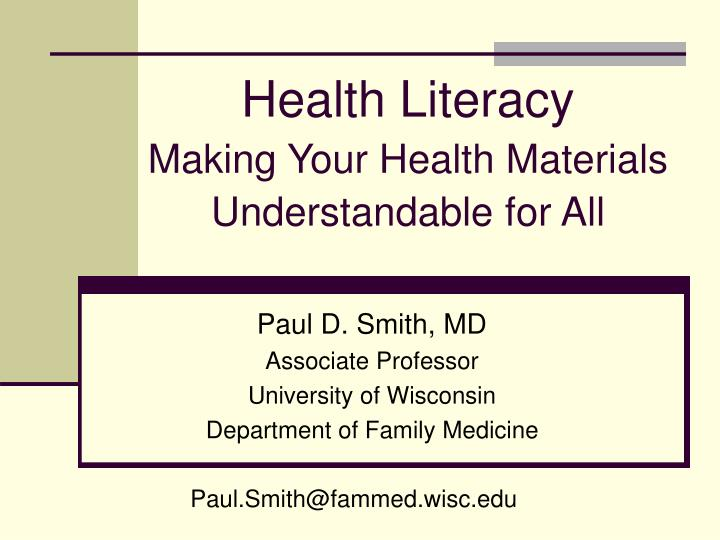 health literacy making your health materials understandable for all n.