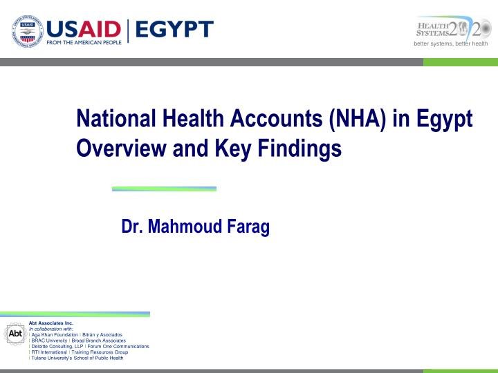 national health accounts nha in egypt overview and key findings n.