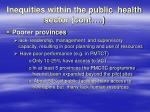 inequities within the public health sector cont