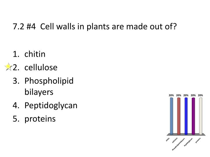 7.2 #4  Cell walls in plants are made out of?