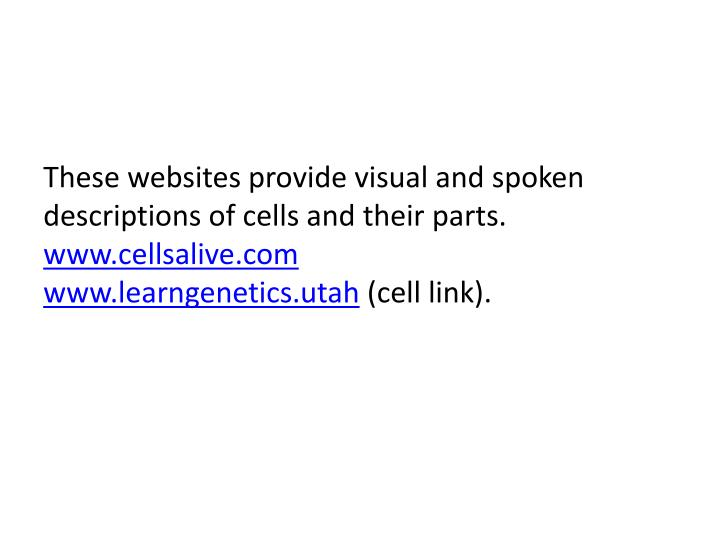 These websites provide visual and spoken descriptions of cells and their parts.
