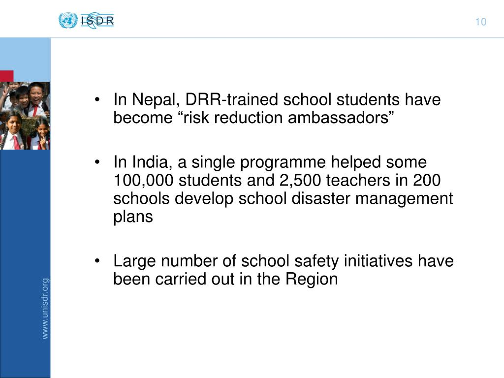 "In Nepal, DRR-trained school students have become ""risk reduction ambassadors"""