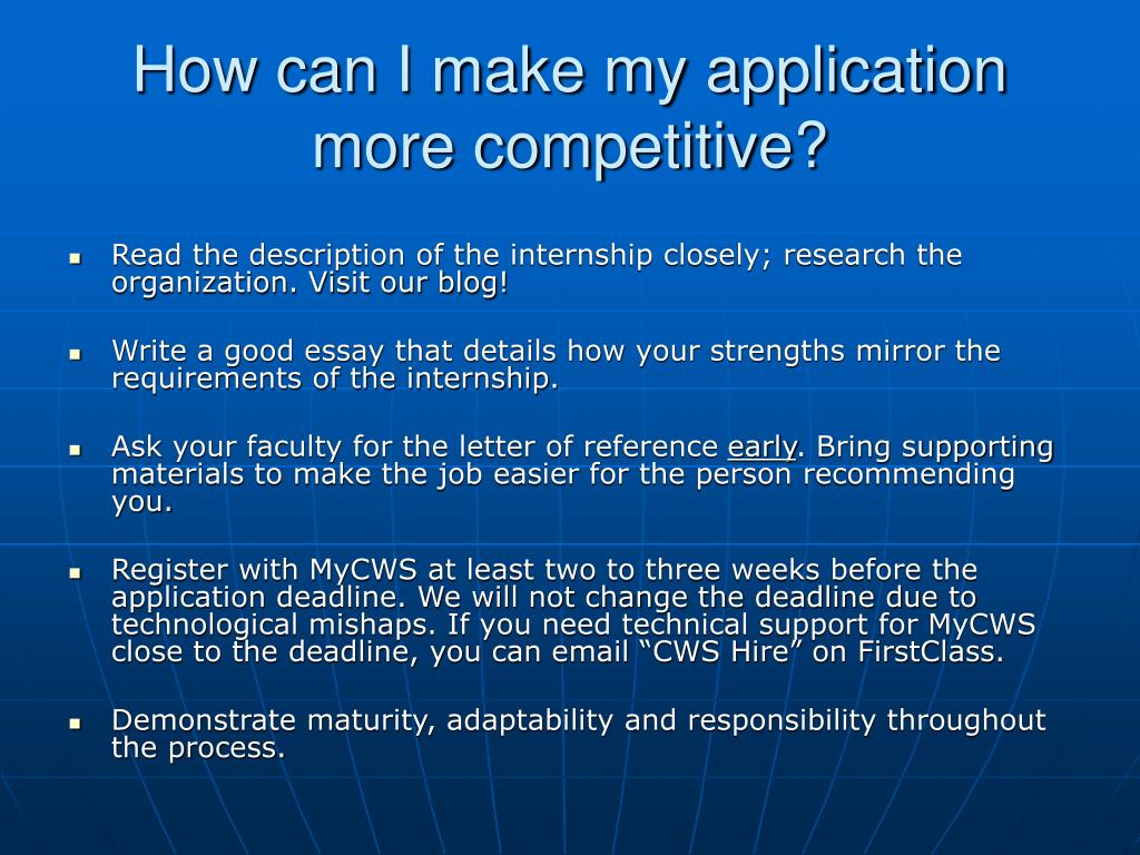 How can I make my application more competitive?