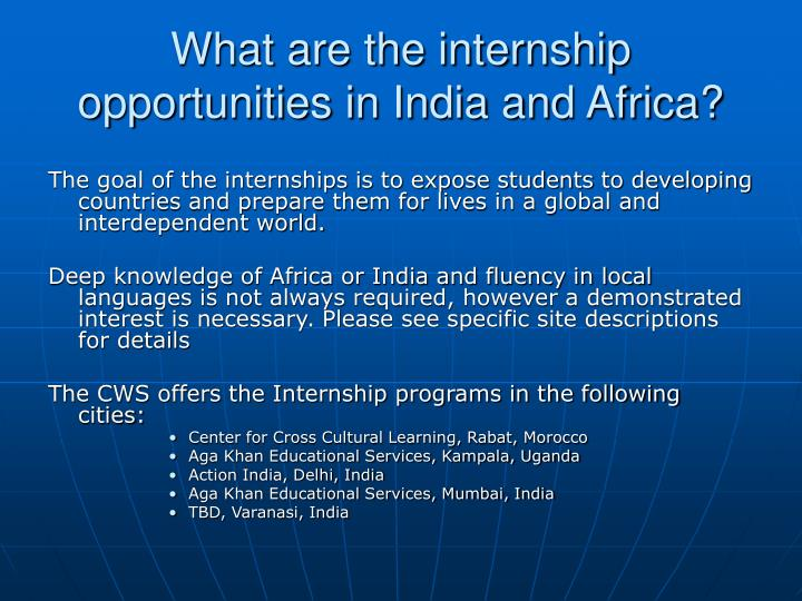 What are the internship opportunities in india and africa