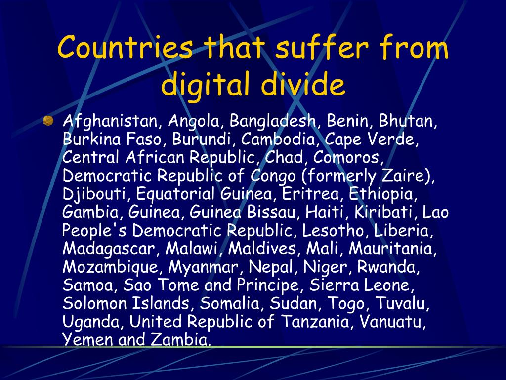 Countries that suffer from digital divide