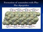 formation of nanotubes with phe phe dipeptides