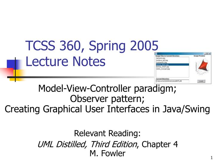 tcss 360 spring 2005 lecture notes n.