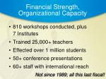 financial strength organizational capacity