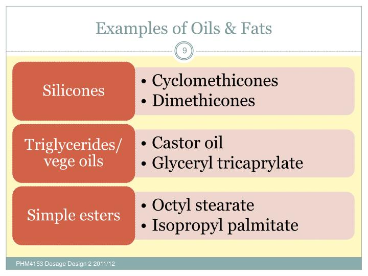 Examples of Oils & Fats