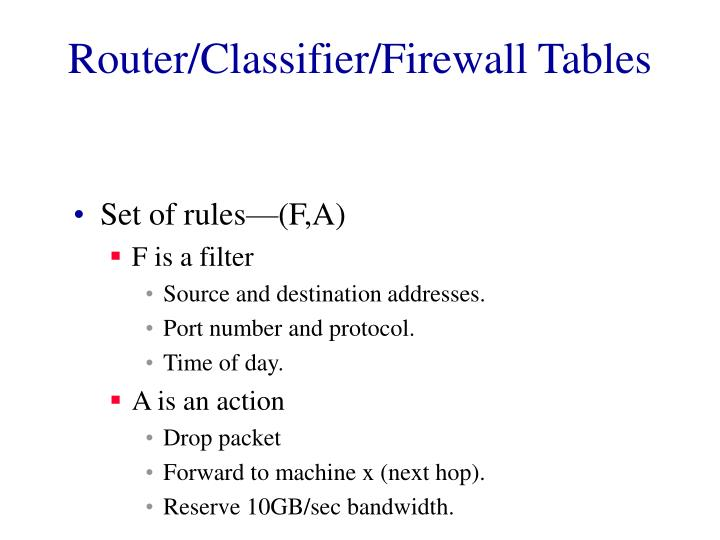 router classifier firewall tables n.