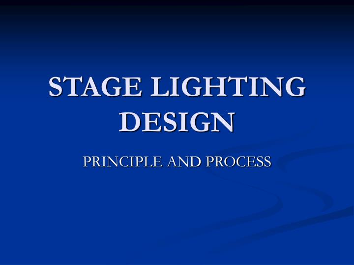 stage lighting design n.
