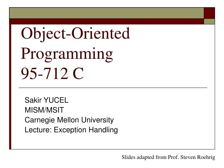 object oriented programming 95 712 c n.