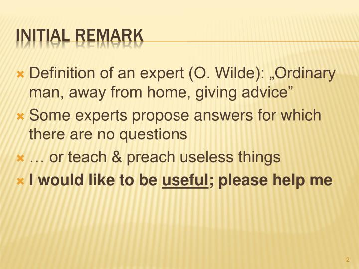 Initial remark