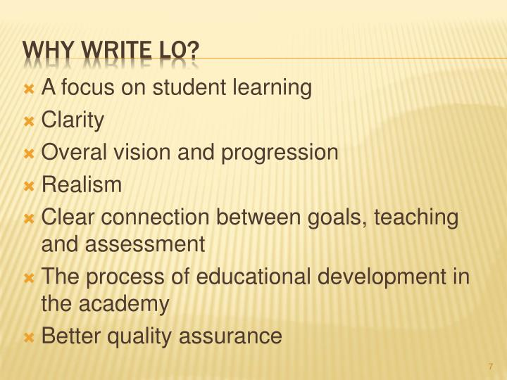 A focus on student learning