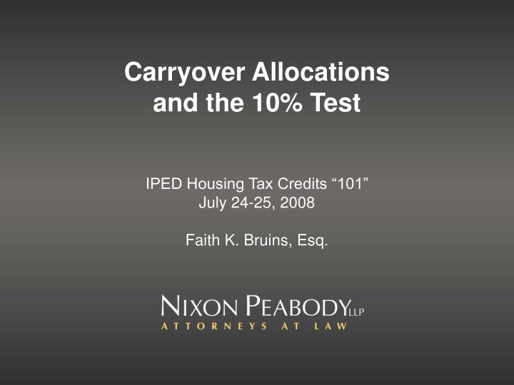 carryover allocations and the 10 test n.