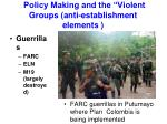 policy making and the violent groups anti establishment elements