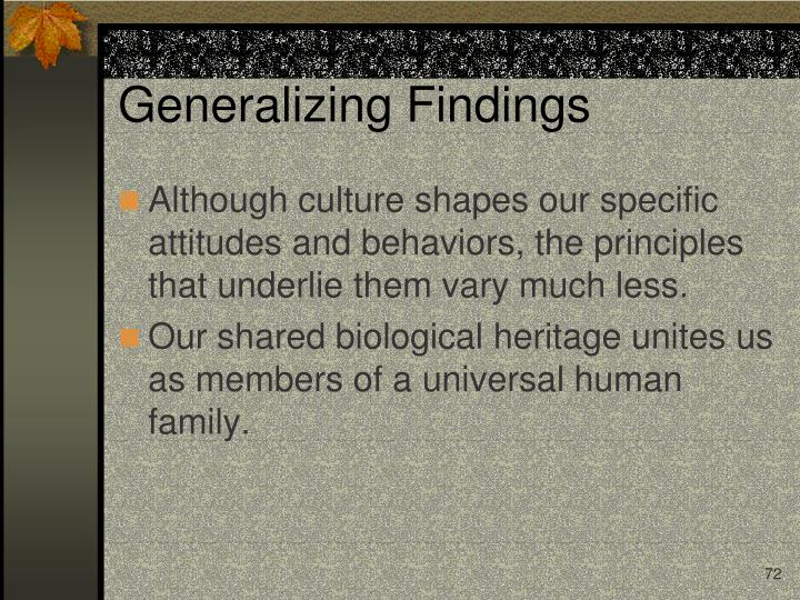 Generalizing Findings