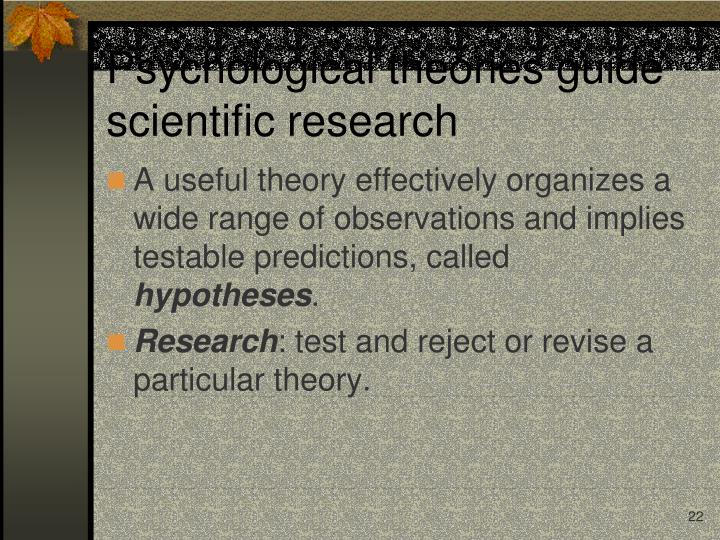 Psychological theories guide scientific research