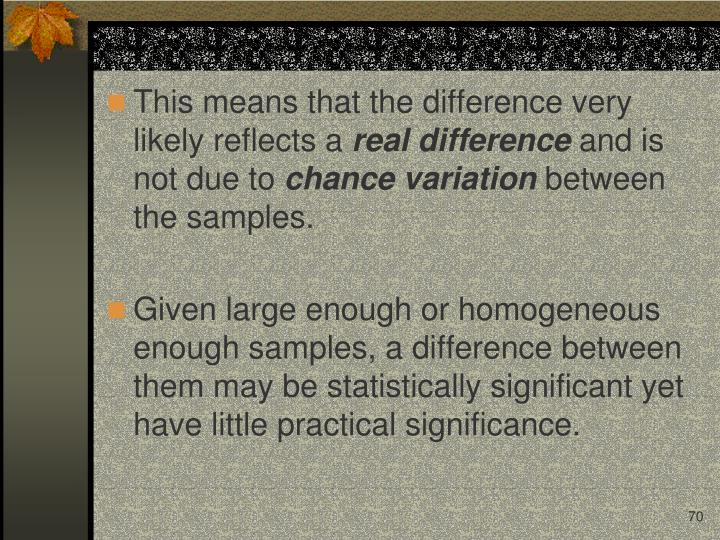 This means that the difference very likely reflects a