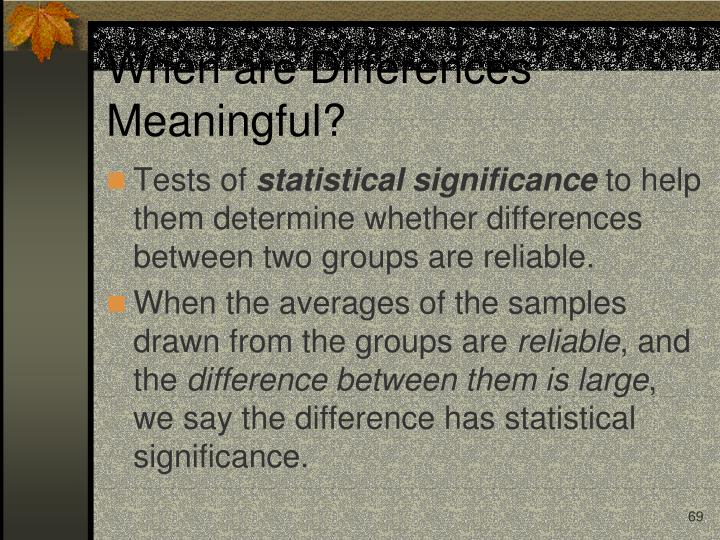 When are Differences Meaningful?