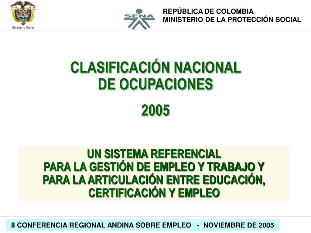 CLASIFICACIÓN NACIONAL