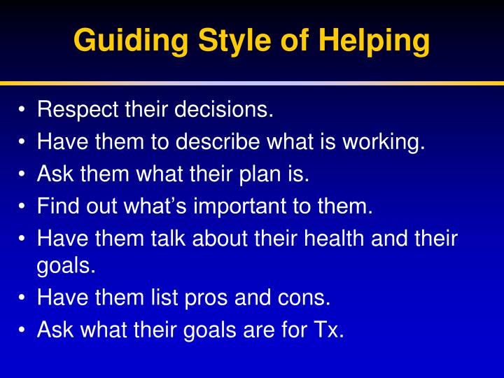 Guiding Style of Helping