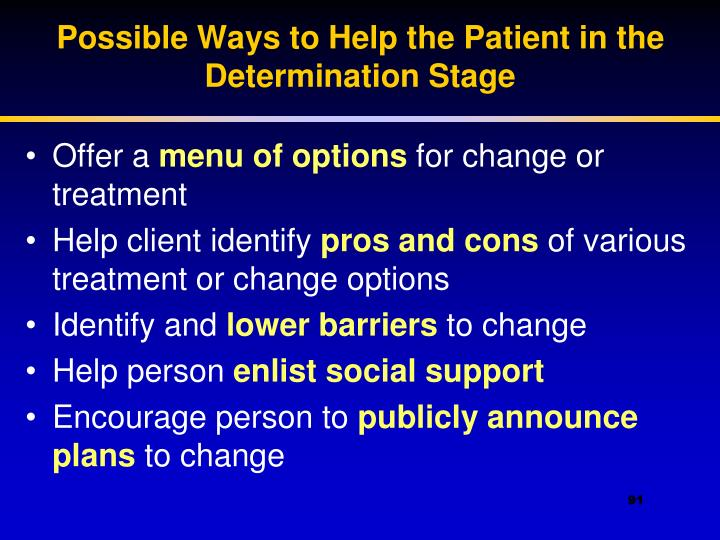 Possible Ways to Help the Patient in the Determination Stage