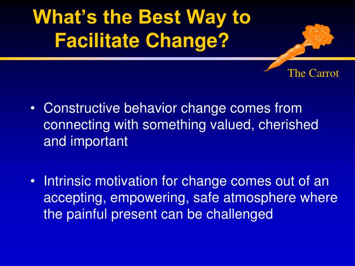 What's the Best Way to Facilitate Change?