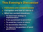 this evening s discussion25