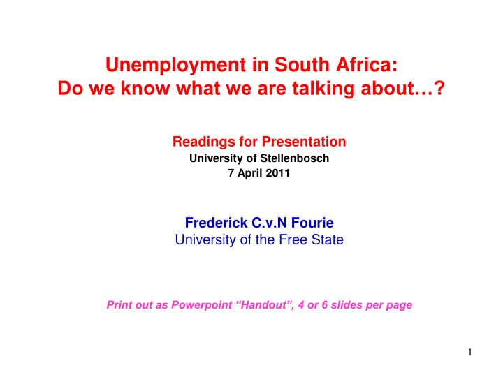 unemployment in south africa do we know what we are talking about n.
