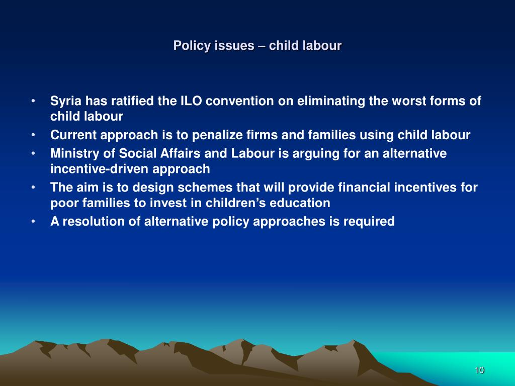 Policy issues – child labour