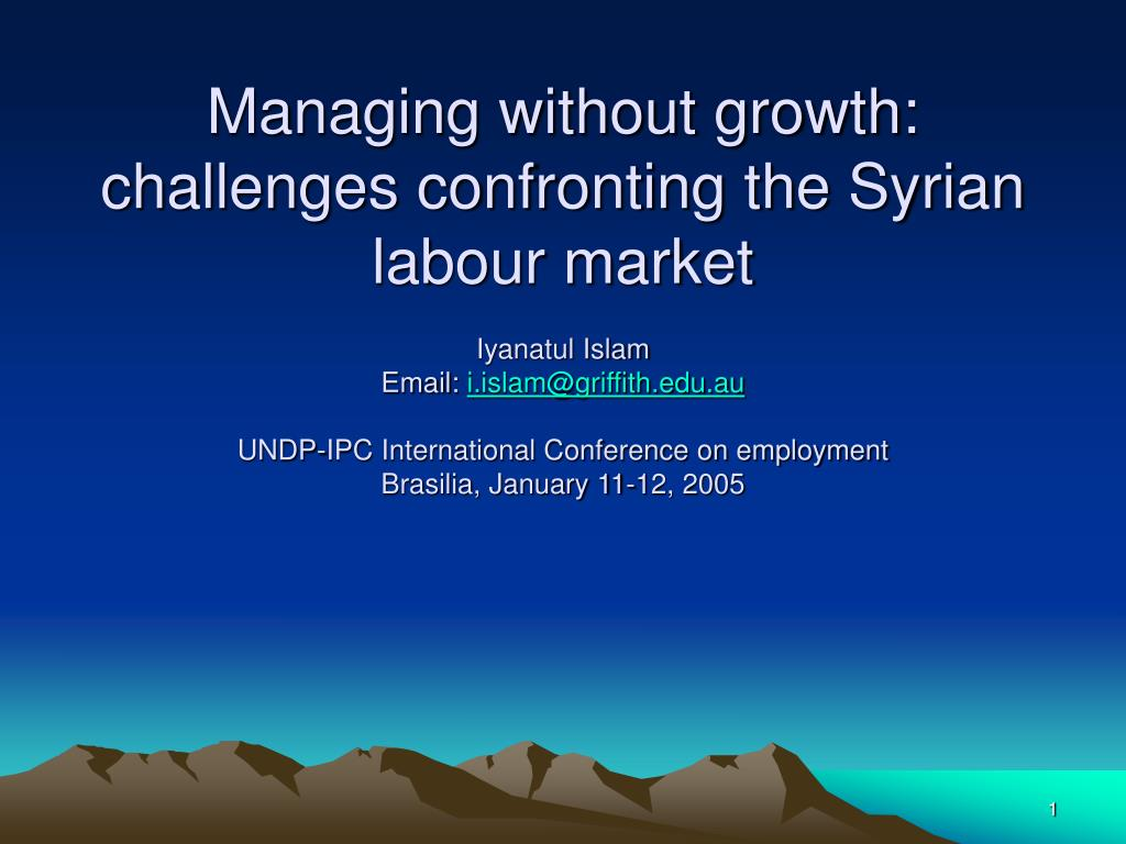 Managing without growth: challenges confronting the Syrian labour market