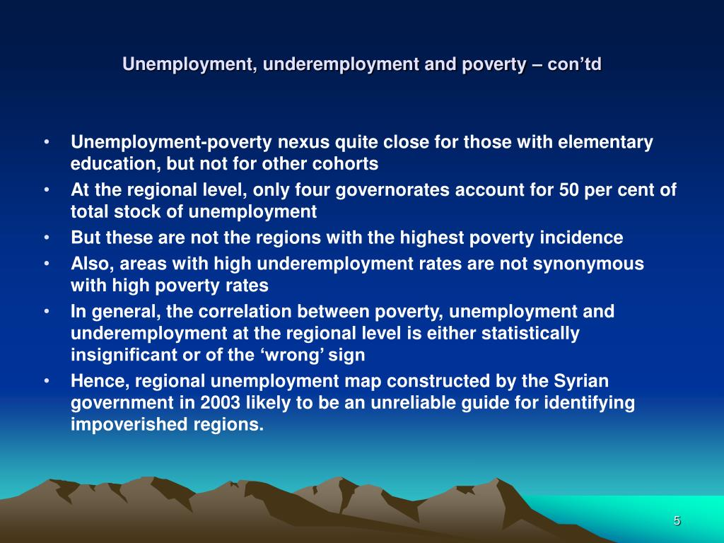 Unemployment, underemployment and poverty – con'td