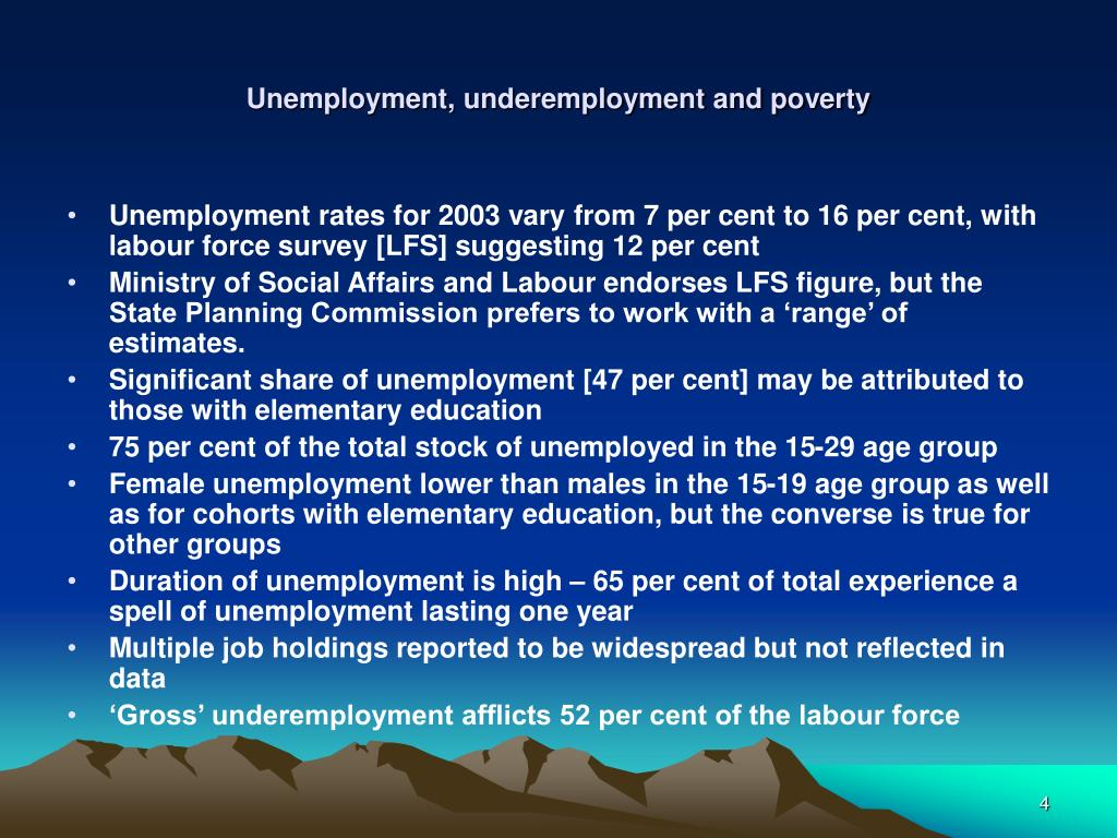 Unemployment, underemployment and poverty