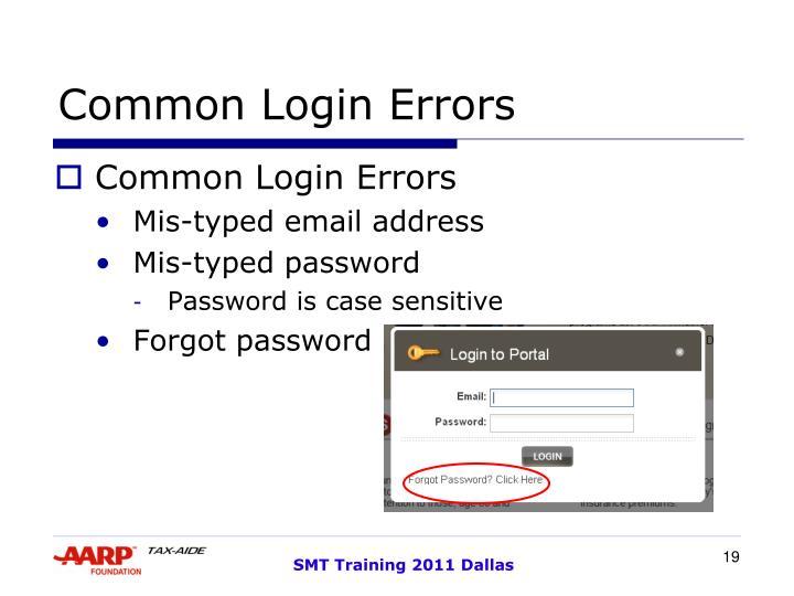 Common Login Errors