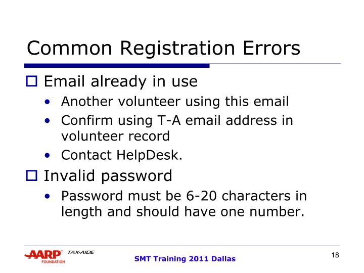 Common Registration Errors