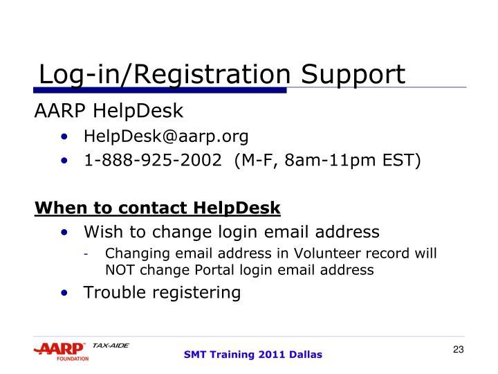 Log-in/Registration Support