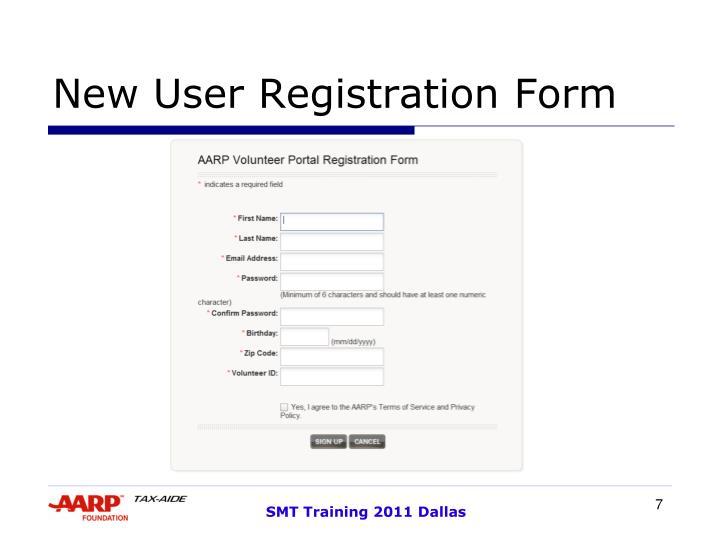 New User Registration Form