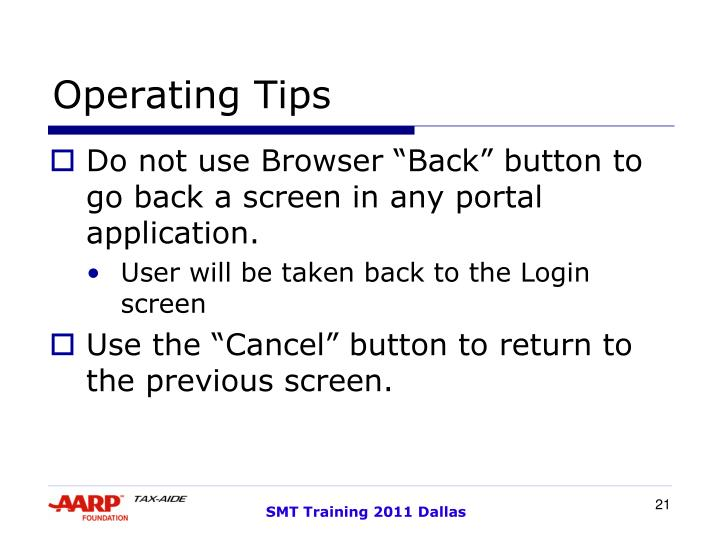 Operating Tips